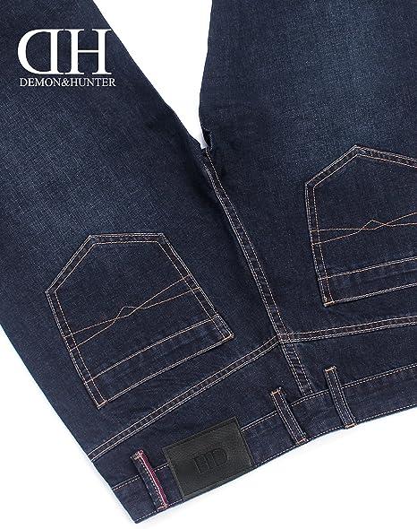 Demon/&Hunter Loose Fit Hombre Pantalones Vaqueros Relaxed Jeans Azul Oscuro S8L09-1