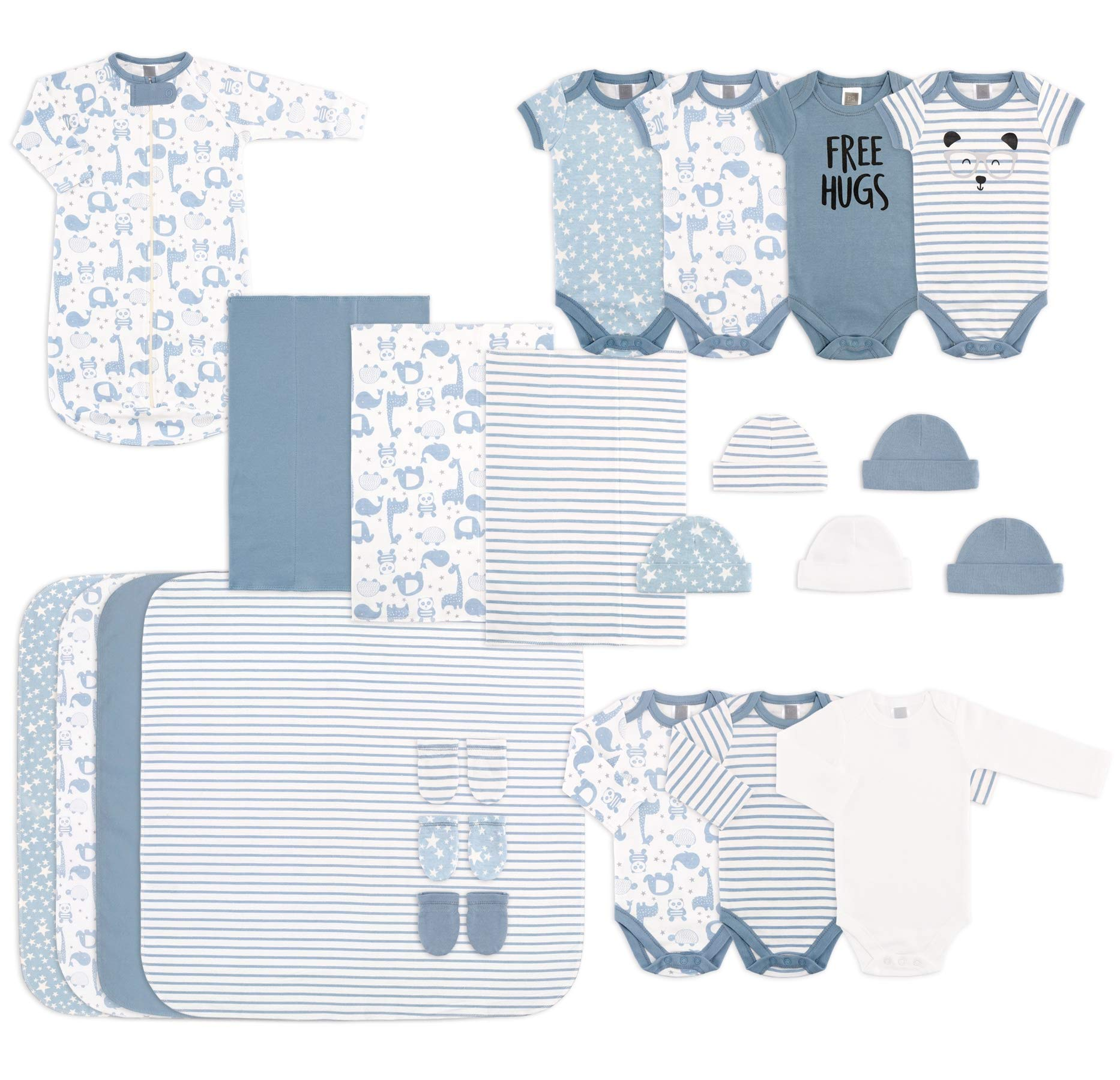 The Peanutshell 23 Piece Essential Layette Gift Set in Blue for Newborn Baby Boys by The Peanutshell