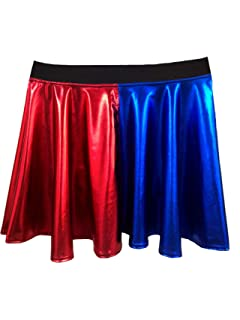 9ed0db168 BlessFashions Womens Red & Blue Skater Skirt Metallic Shiny Foil Fancy Dress  Party Halloween Costume