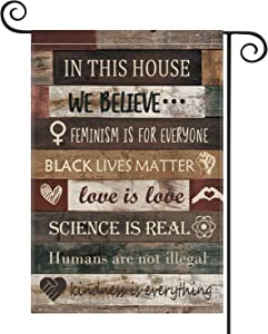 AVOIN Inspiration Quote Wood Garden Flag Vertical Double Sided, LGBT Science Feminism Humans Kindness Flag Yard Outdoor Decoration 12.5 x 18 Inch