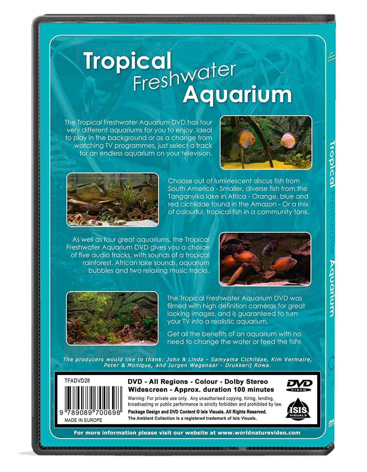 Freshwater aquarium fish by region - Amazon Com Aquarium Dvd Tropical Freshwater Aquariums Of 100 Minutes Of Hd Fishtanks With Music And Nature Sounds The Ambient Collection Tropical Fishes