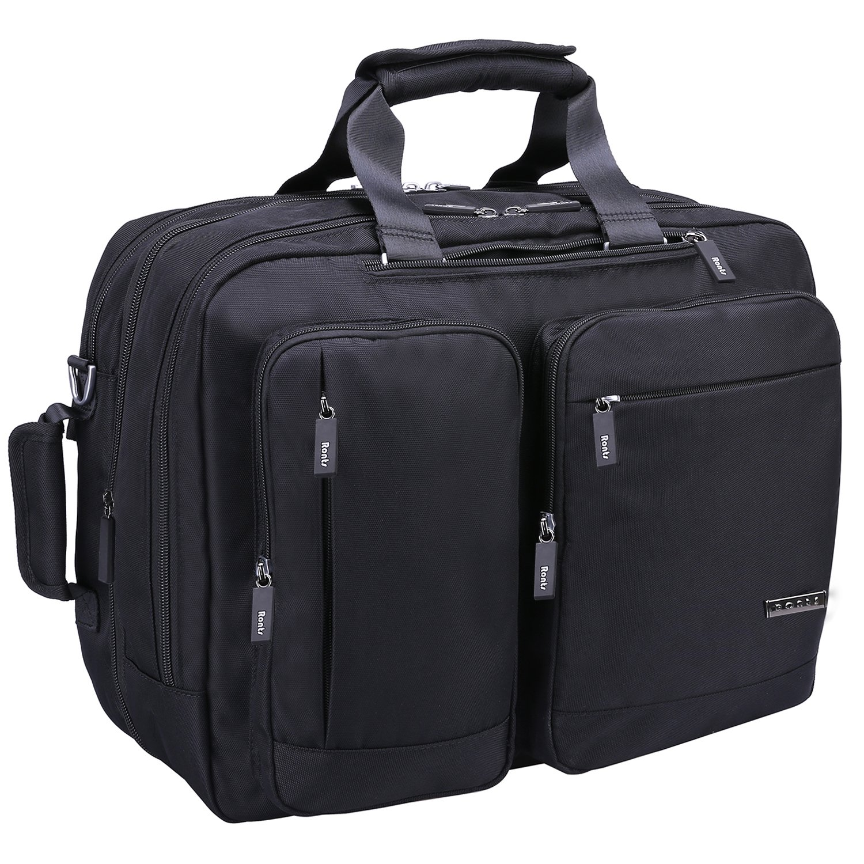 Ronts Mens Black Waterproof Nylon Convertible Backpack Briefcase 3 in 1 15.6 Laptop Messenger Bag