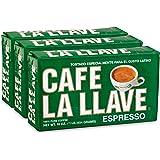 Café La Llave Espresso, 100% Pure Coffee, Dark Roast, 16-Ounce Bricks (3 Count)