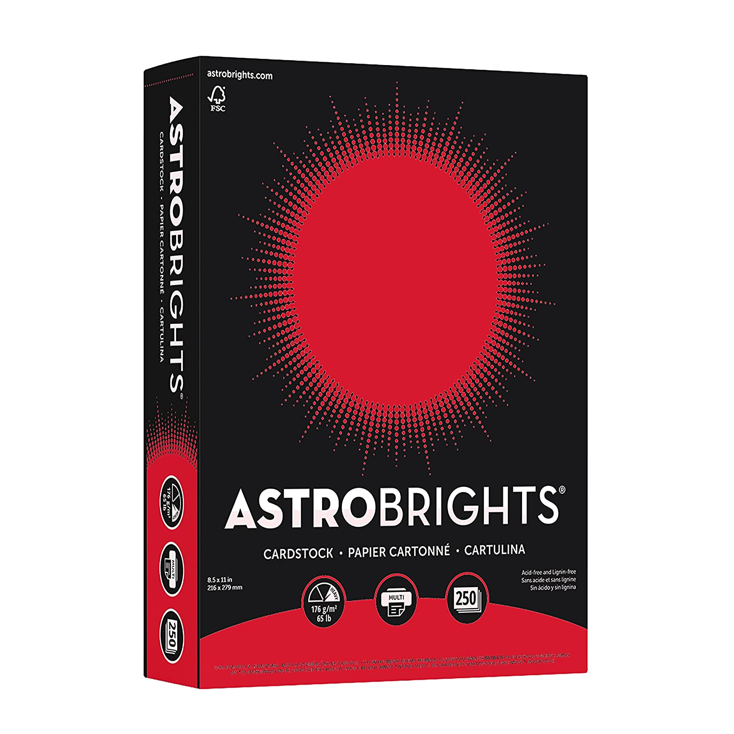 Neenah Astrobrights Premium Color Cardstock, 65 lb, 8.5 x 11 Inches, 250 Sheets, Lunar Blue Wausau Paper 21728