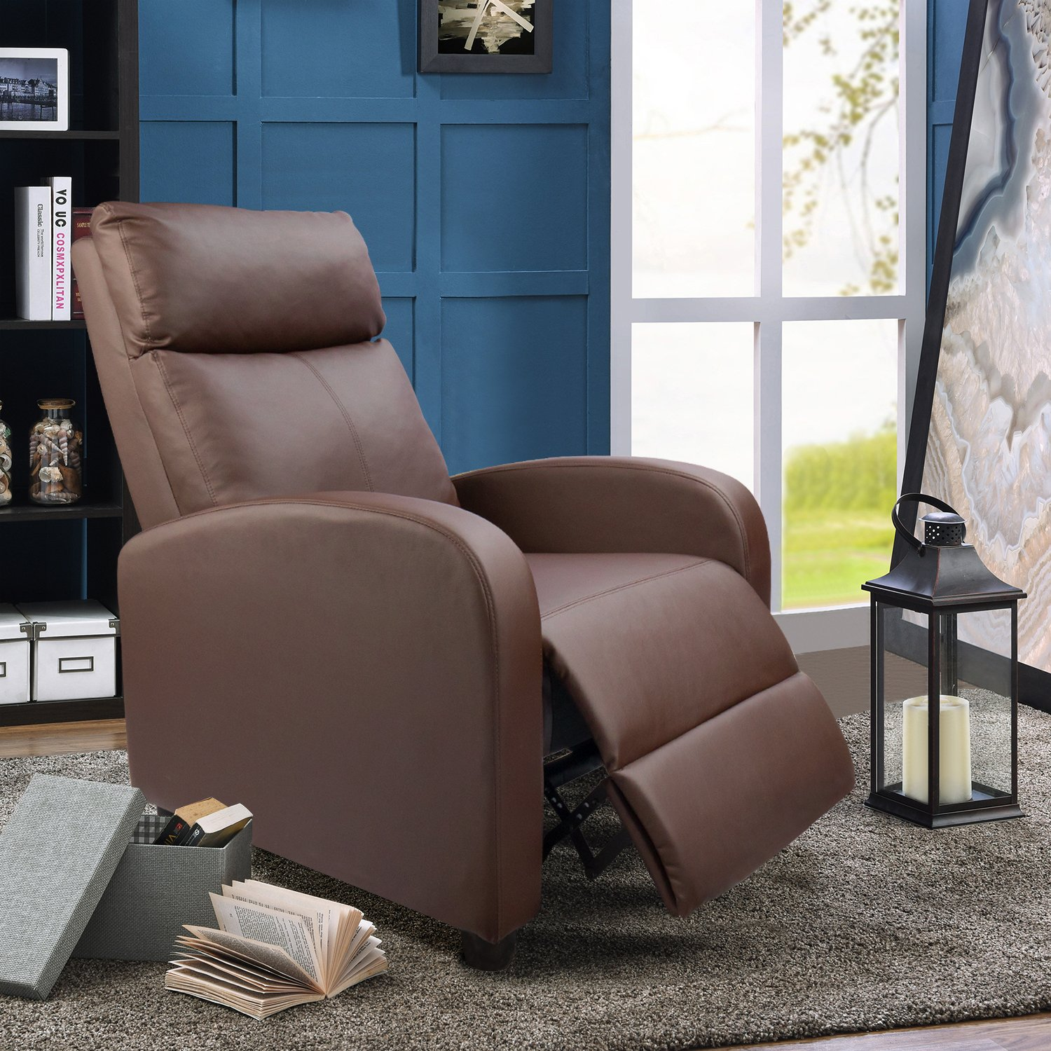 Devoko Manual Single Recliner Chair PU Leather Modern Living Room Sofa Padded Cushion Adjustable Home Theater Seating Brown