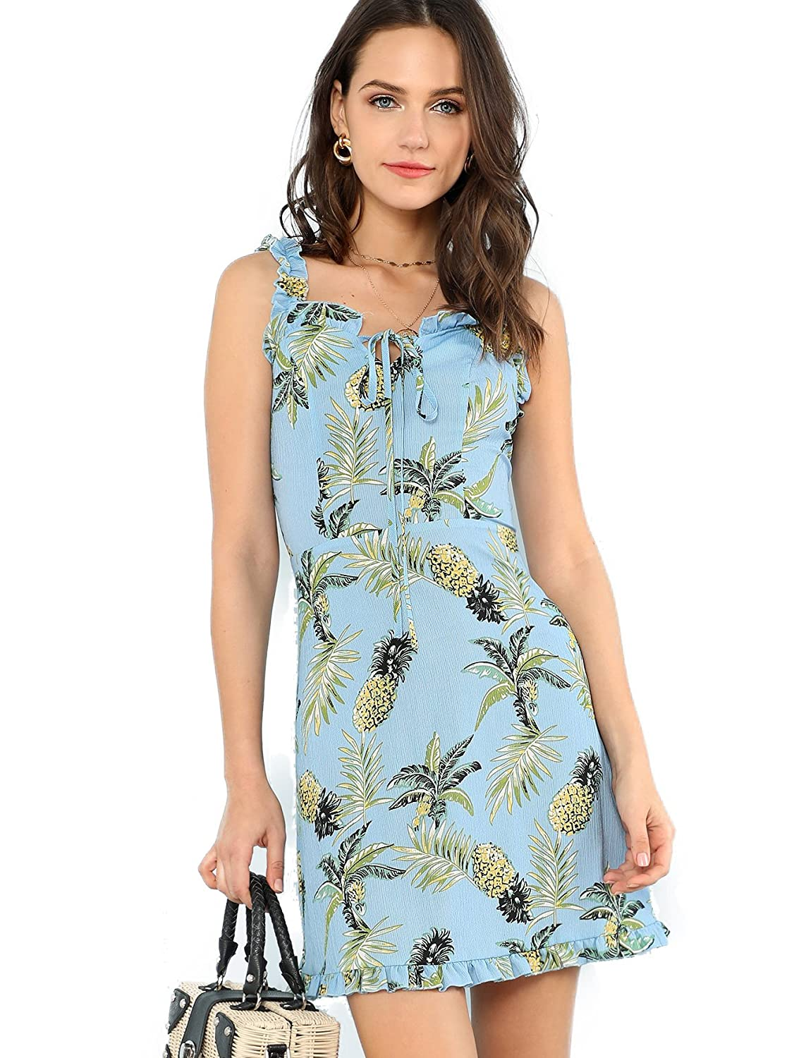 bluee Milumia Women's Pineapple Print Tie Neck Sleeveless Beach Short Mini Cami Dress