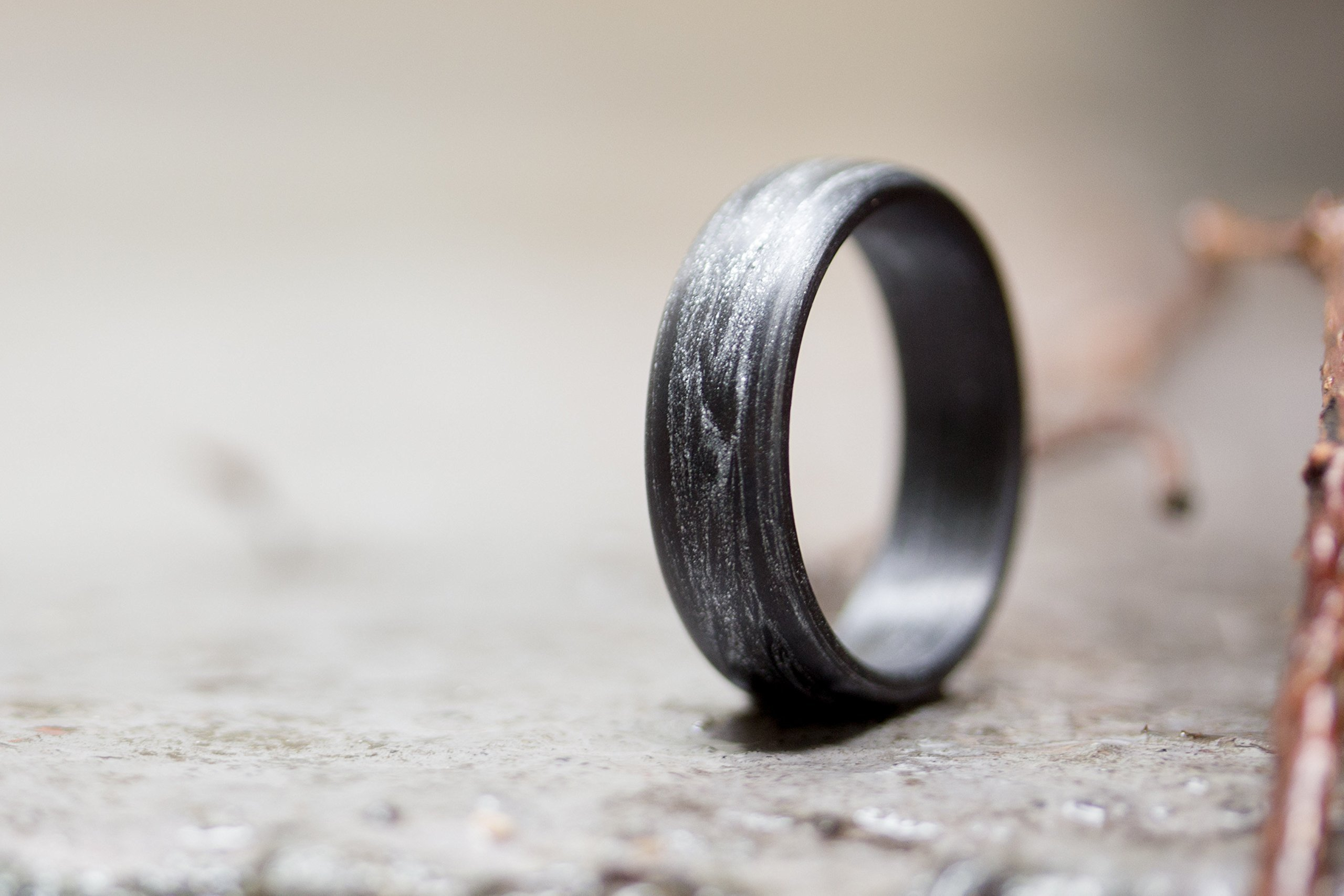 Men's carbon fiber and silver ring. Modern and unique black wedding band. Water resistant, very durable and hypoallergenic. (00102_7N)