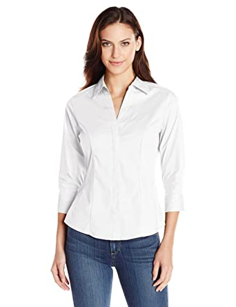 4901e5087c5ed Riders by Lee Indigo Women s Easy Care ¾ Sleeve Woven Shirt at Amazon  Women s Clothing store