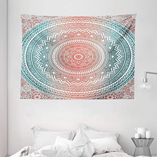 Ambesonne Teal and Coral Tapestry, Ombre Mandala Art Antique Gypsy Folk Pattern Mystical Cosmos Image, Wide Wall Hanging for Bedroom Living Room Dorm, 80 X 60 , Teal Coral