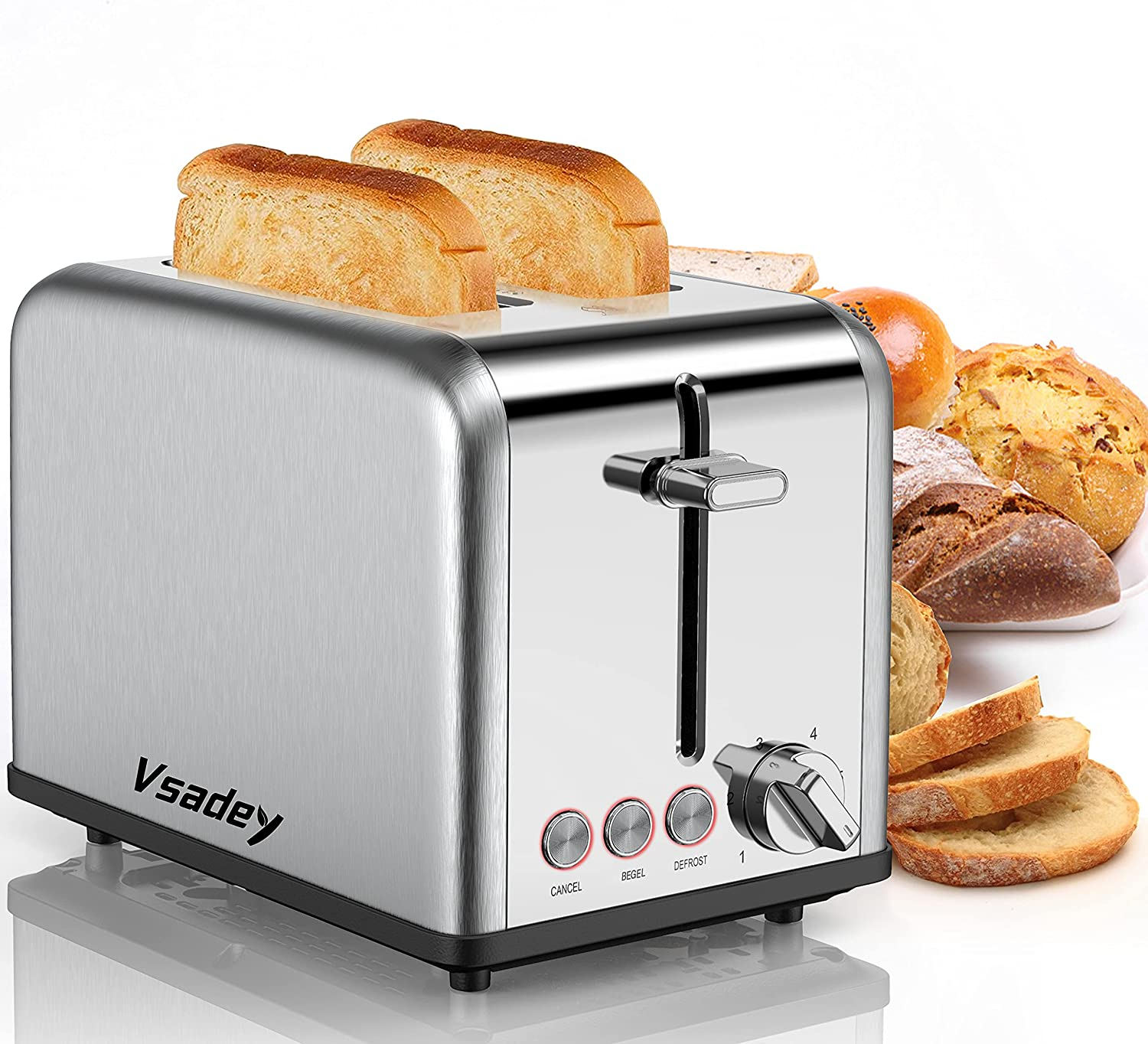 Toasters 2 Slice , Vsadey Stainless Steel,Bagel Toaster - Bagel/Defrost/Cancel Function,Extra Wide Slots,High Lift Lever, Auto Shut Off,Removable Crumb Tray,for Various Bread Types (815W) (Silver)
