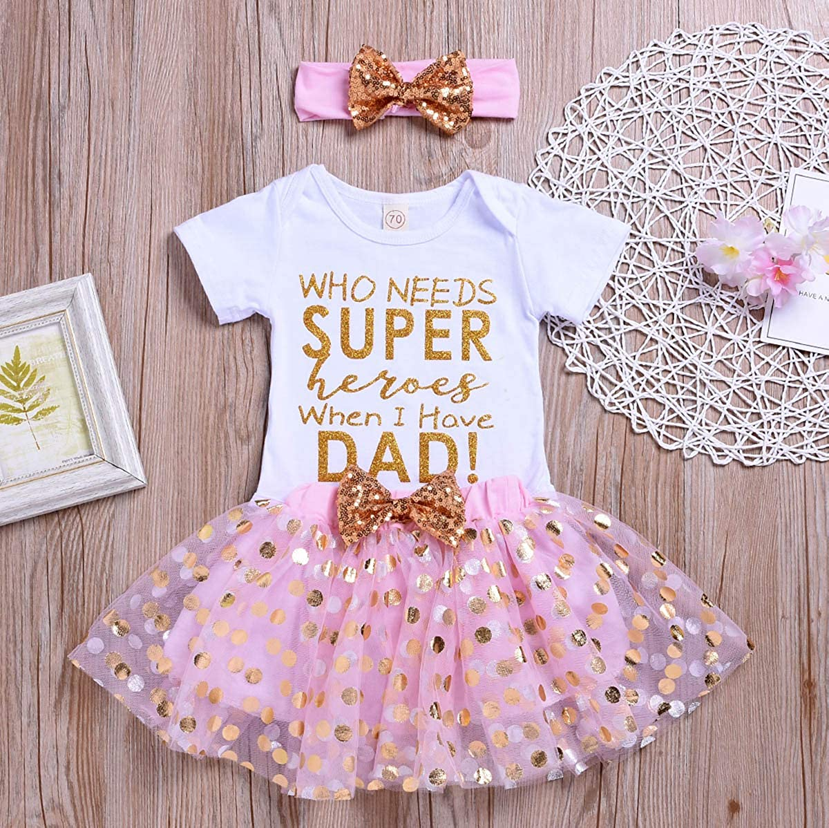 Golden Dots Tutu Skirt 3Pcs Outfits YOUNGER TREE Newborn Baby Girl Fathers Day Skirt Set Toddler Girl Letter Print Romper