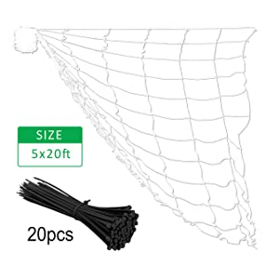 "Gardzen Polyester Plant Trellis Netting with 20pcs Cable Ties, 6"" Square Mesh Net, White Color Climbing Vine Netting 5 x 20ft 1 Pack"