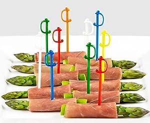 Sword Picks, 50 Plastic Cocktail & Food Toothpicks, 6 Color Assortment, 3