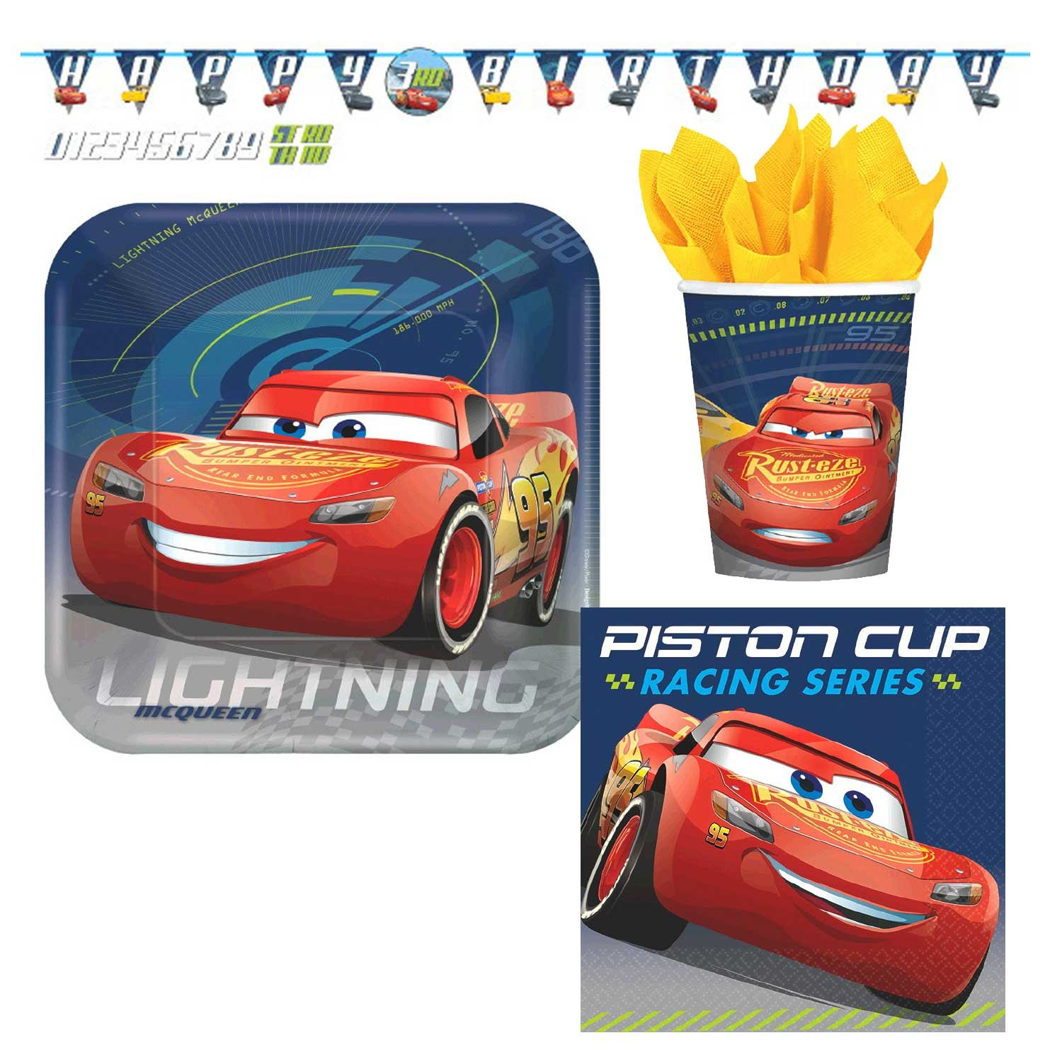 Disney Cars 3 Party Supplies Bundle, Plates, Napkins, Cups, & Birthday Banner for 8 Guests