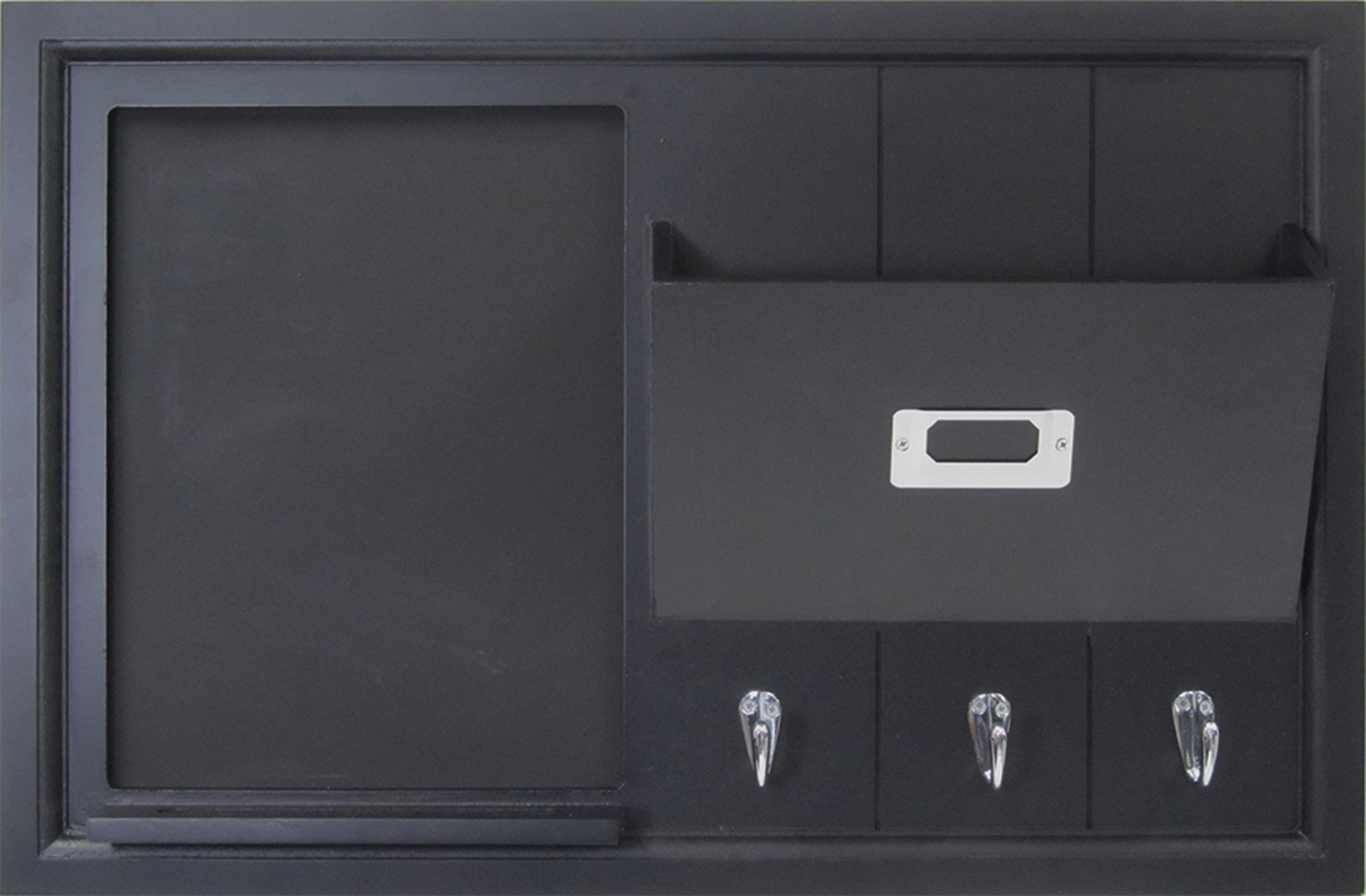 DesignOvation Dagny Decorative Home Organizer 21x14 with Chalkboard, Mail Holder, Key Hooks, Black (208438)
