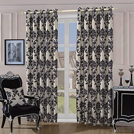 Just Contempo Damask Eyelet Lined Curtains Cream Black 90x90 Inches