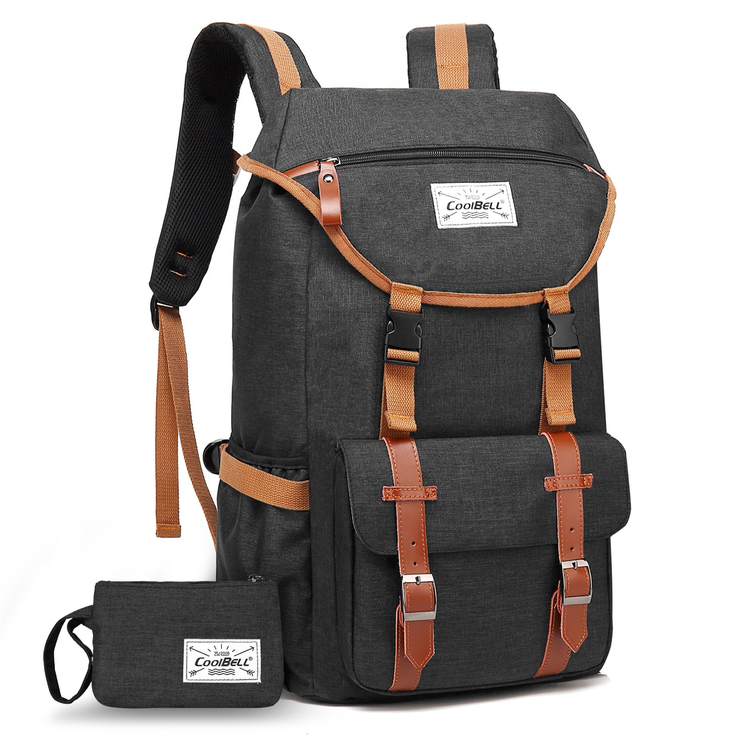 Travel Backpack CoolBELL 17.3 Inches Laptop Backpack Leisure Outdoor Rucksack Hiking Knapsack School Daypack Multi-functional Business Bag For School/College/Men/Women (38L, Black) by CoolBELL (Image #1)