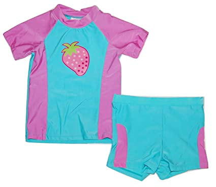 68ecc5e6b75ba Girls Baby Toddler Sun Safe UPF40+ Protection 2 Piece Swimming Suit  Swimwear (6-12 Months): Amazon.co.uk: Clothing