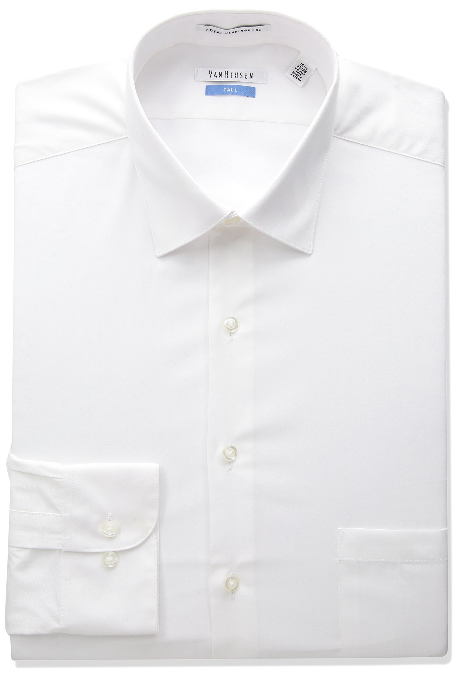 Van Heusen Men's Big and Tall Herringbone Fit Solid Spread Collar Dress Shirt, White, 19'' Neck 35''-36'' Sleeve