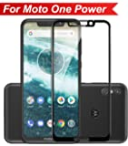 Knotyy Edge to Edge Curved Full Tempered Glass Screen Guard for Moto One Power (Black)