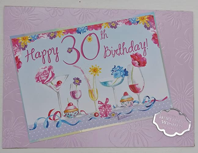 30th Birthday Card With Personalised Braille Message For The Blind Or Visually Impaired