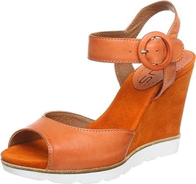 Virus Moda 910503 - Zapatos de tacón de Cuero para Mujer, Color Naranja, Talla 36: Amazon.es: Zapatos y complementos