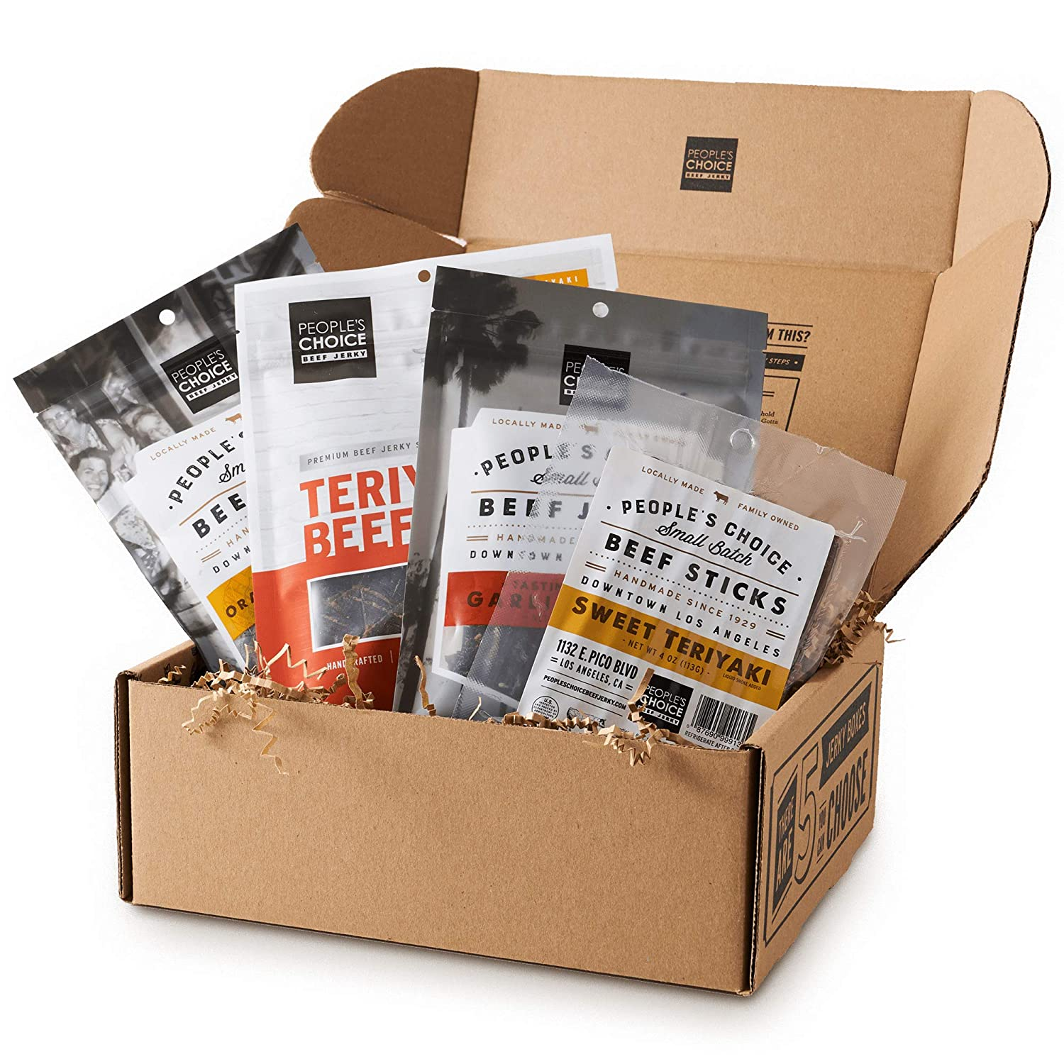 People's Choice Beef Jerky - Jerky Box - Sweet Tooth - Unique Gift for Men - Protein Snacks Military Care Package - Best Father's Day Gifts for Him - Meat Snack Sampler Gift Basket - 4 Bags