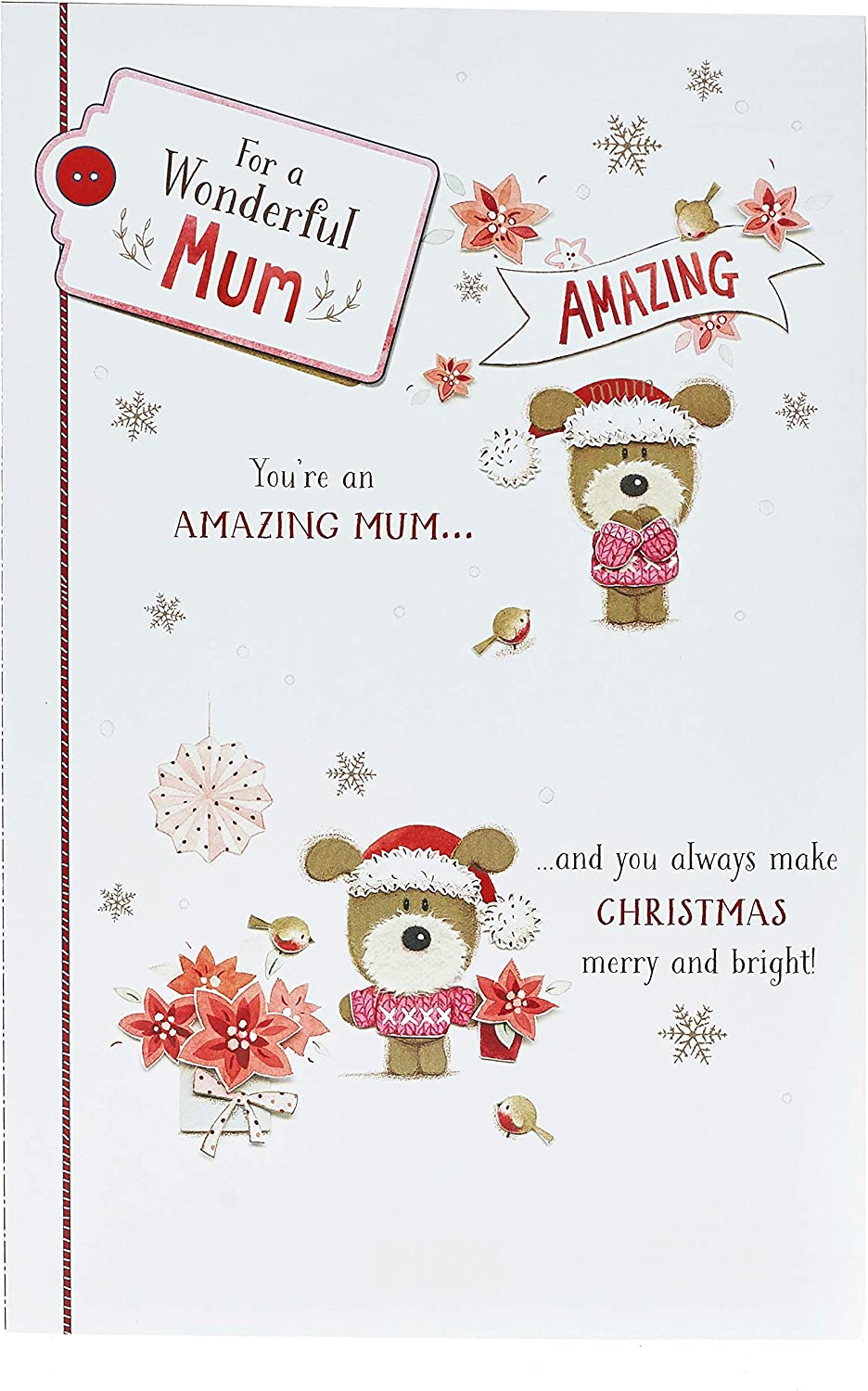 Amazon Com Mum Christmas Card Cute Mum Christmas Card With Nice Words Cute Dog Christmas Card Gift Card For Mum Christmas Gifts Office Products