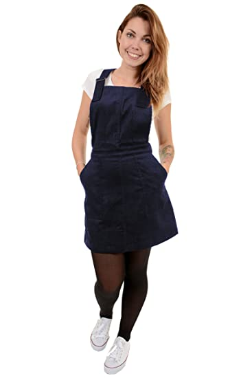 f5177d2acb5 Run   Fly Ladies Retro Indie Navy Corduroy Pinafore Dress  Amazon.co ...