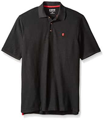 4c54cd4252ae07 IZOD Men's Big and Tall Advantage Performance Solid Polo, Black, Large Tall