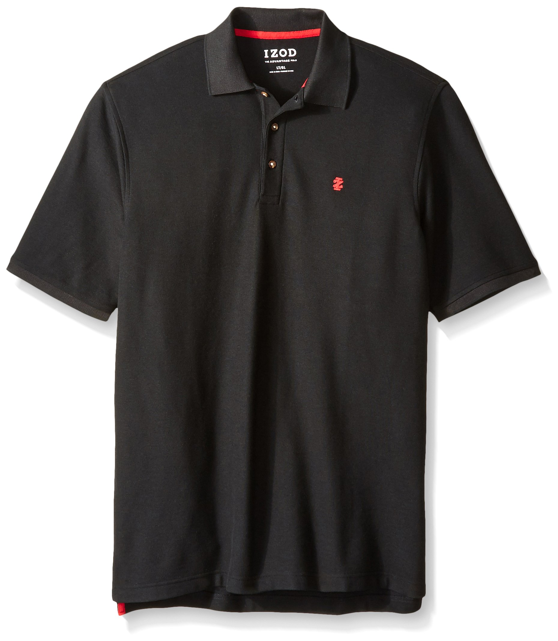 IZOD Men's Big and Tall Advantage Performance Solid Polo, Black, 3X-Large Big