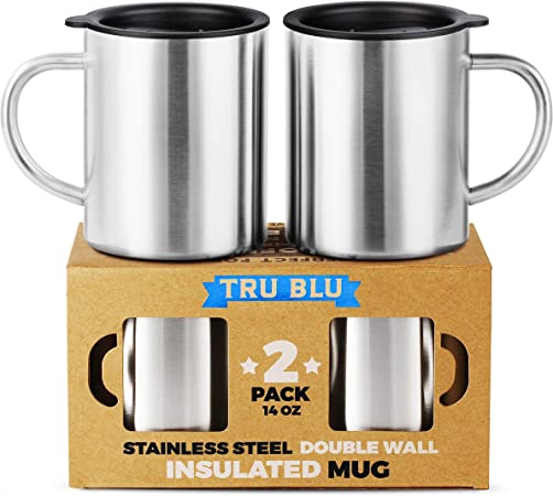 Stainless Steel Coffee Mug with Lid, Set of 2 410 ml Premium Double Wall Insulated Travel Cup, Metal Mug with Handle Shatterproof, BPA Free,