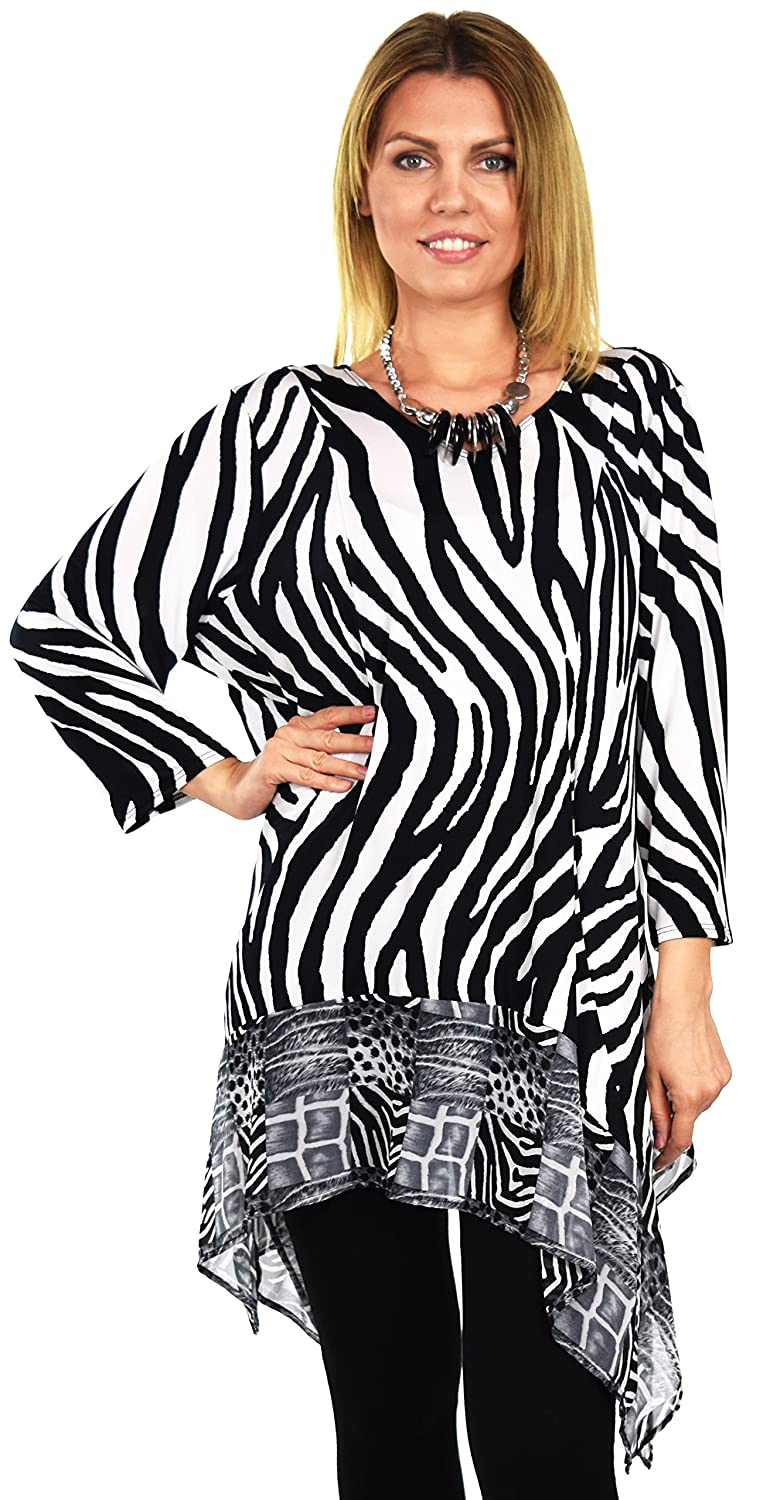 ae3ca7810f2 Dare2bStylish Women Zebra Print Tunic Dress Top in Plus Sizes at Amazon  Women s Clothing store
