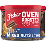 FISHER Snack, Oven Roasted Never Fried, Deluxe Mixed Nuts, Almonds, Cashews, Pecans & Pistachios, Made with Sea Salt, 8.75 oz