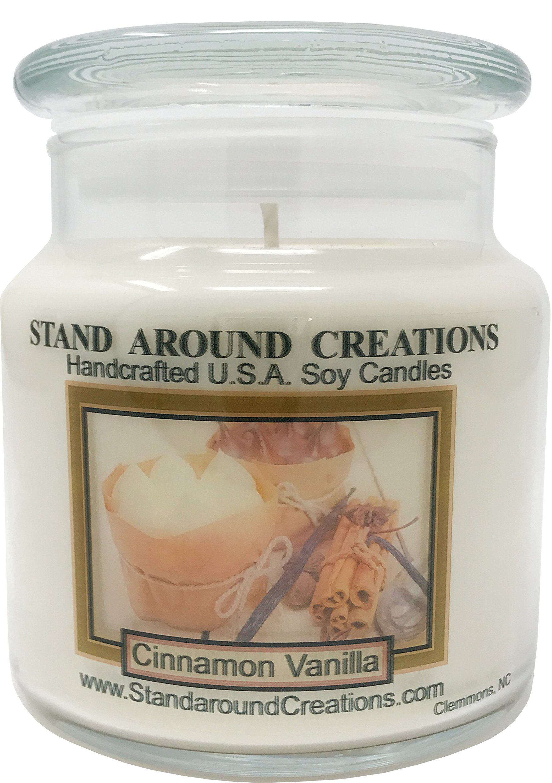 Stand Around Creations Premium 100% Soy Apothecary Candle - 16 oz. - Cinnamon Vanilla - The scent of spicy cinnamon w/sweet vanilla.