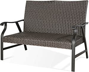 Ulax Furniture Outdoor Wicker Loveseat Patio Rattan Bench Loveseat with Padded Quick Dry Foam