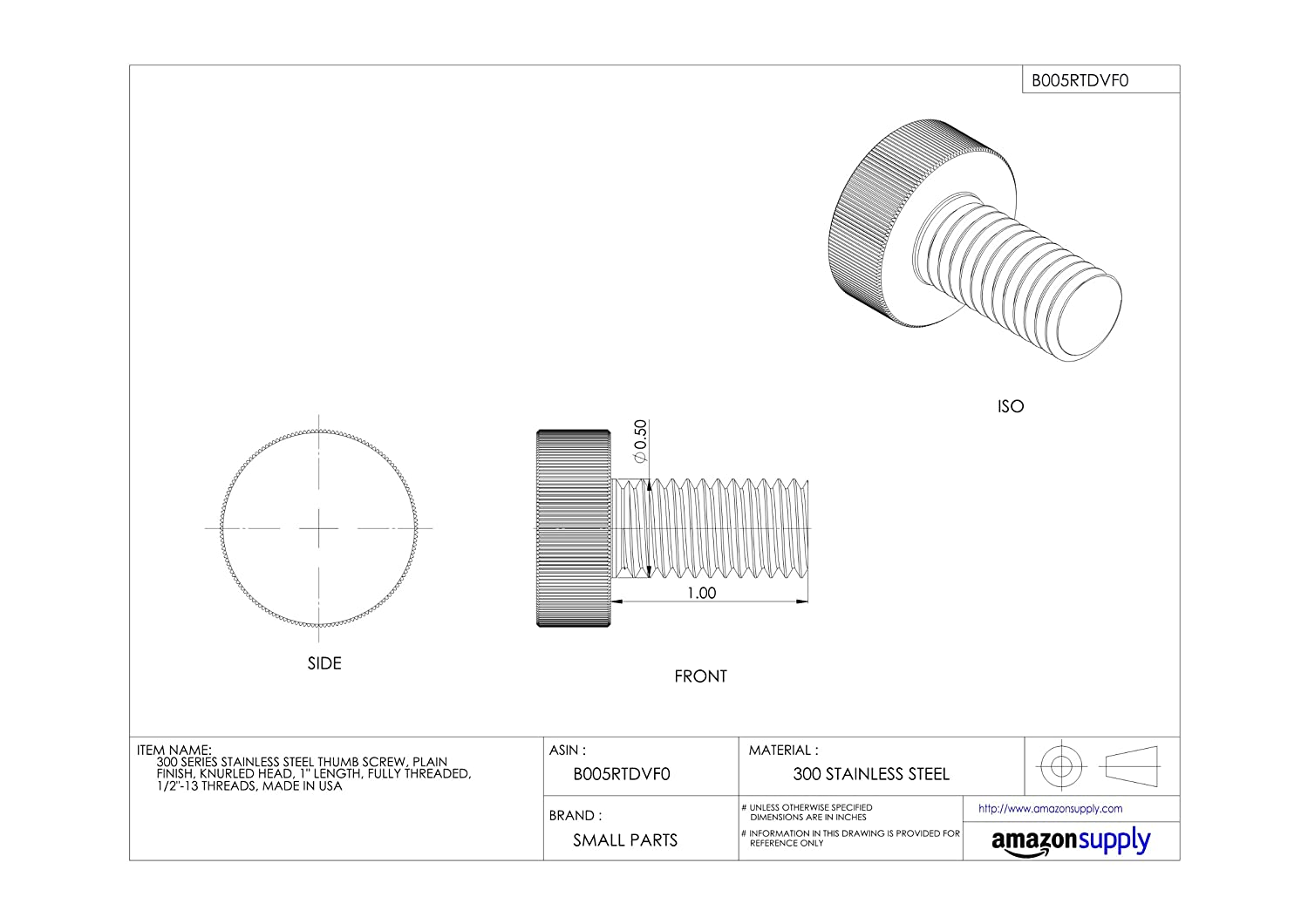 Made in US Plain Finish Fully Threaded 1 Length 1//2-13 UNC Threads Knurled Head 300 Series Stainless Steel Thumb Screw