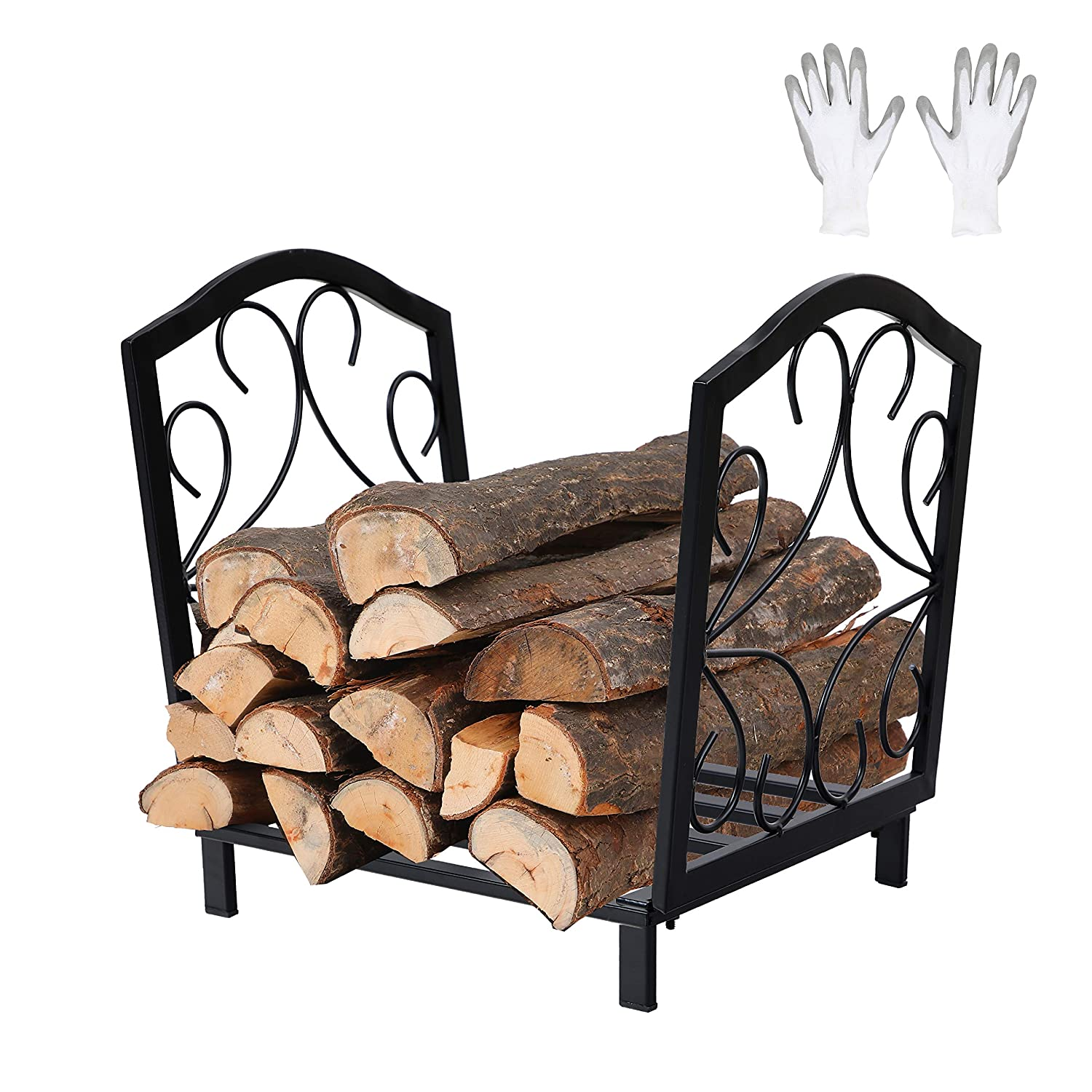 PHI VILLA 17 Inch Small Decorative Indoor Outdoor Firewood Racks Steel Wood Storage Log Rack Holder