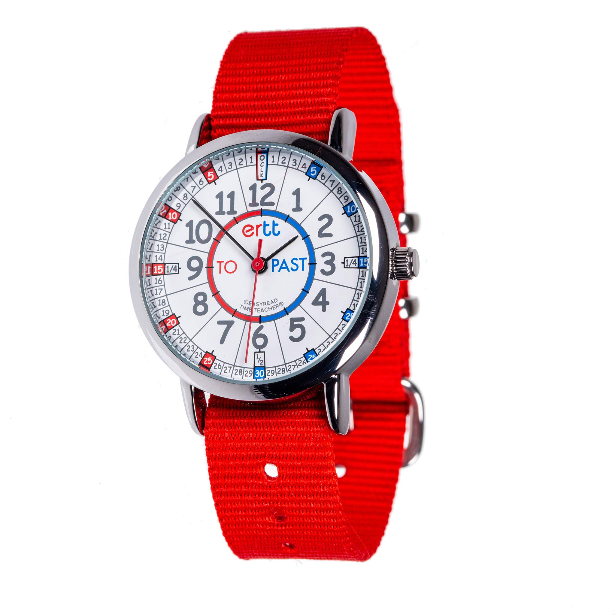 EasyRead Time Teacher Children's Watch, Red Blue Past & to Face, Red Strap by EasyRead Time Teacher (Image #1)