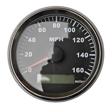 Velocímetro y odómetro GPS de millas por hora con fondo negro,