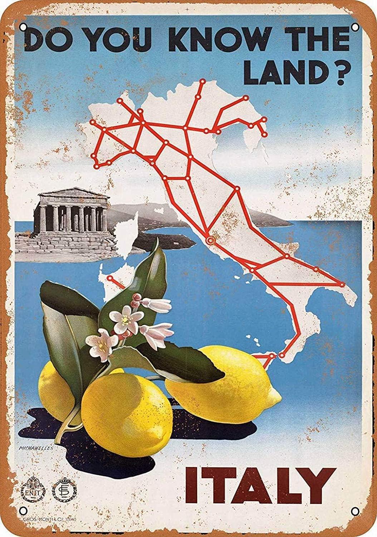 Shunry Italy Placa Cartel Vintage Estaño Signo Metal De Pared ...
