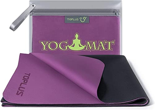 TOPLUS Travel Yoga Mat – Foldable 1 16 Inch Thin Hot Yoga Mat, Sweat Absorbent Anti Slip, High-Grade Natural Suede for Travel, Yoga and Pilates, Coming with Carrying Bag