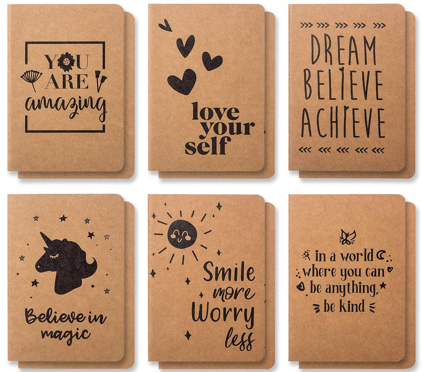 Cute Small Notebooks - 12 Pack Lined Notebook - Kraft Notebook - Pocket Journal - Beautiful Small Notebooks With 6 Joyful Designs - Small Writing Notebooks, A6 Notebook - 80 Pages - 4.1 x 5.8 Inches by Bargain Paradise