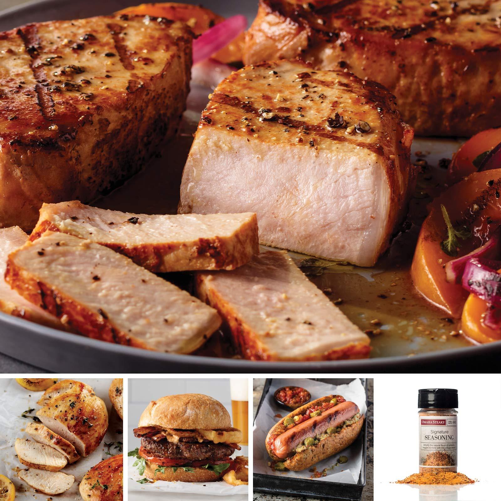 Omaha Steaks Omaha's Variety Package (13-Piece with Boneless Pork Chops, Boneless Chicken Breasts, Steak Burgers, Jumbo Franks, and Signature Seasoning) by Omaha Steaks