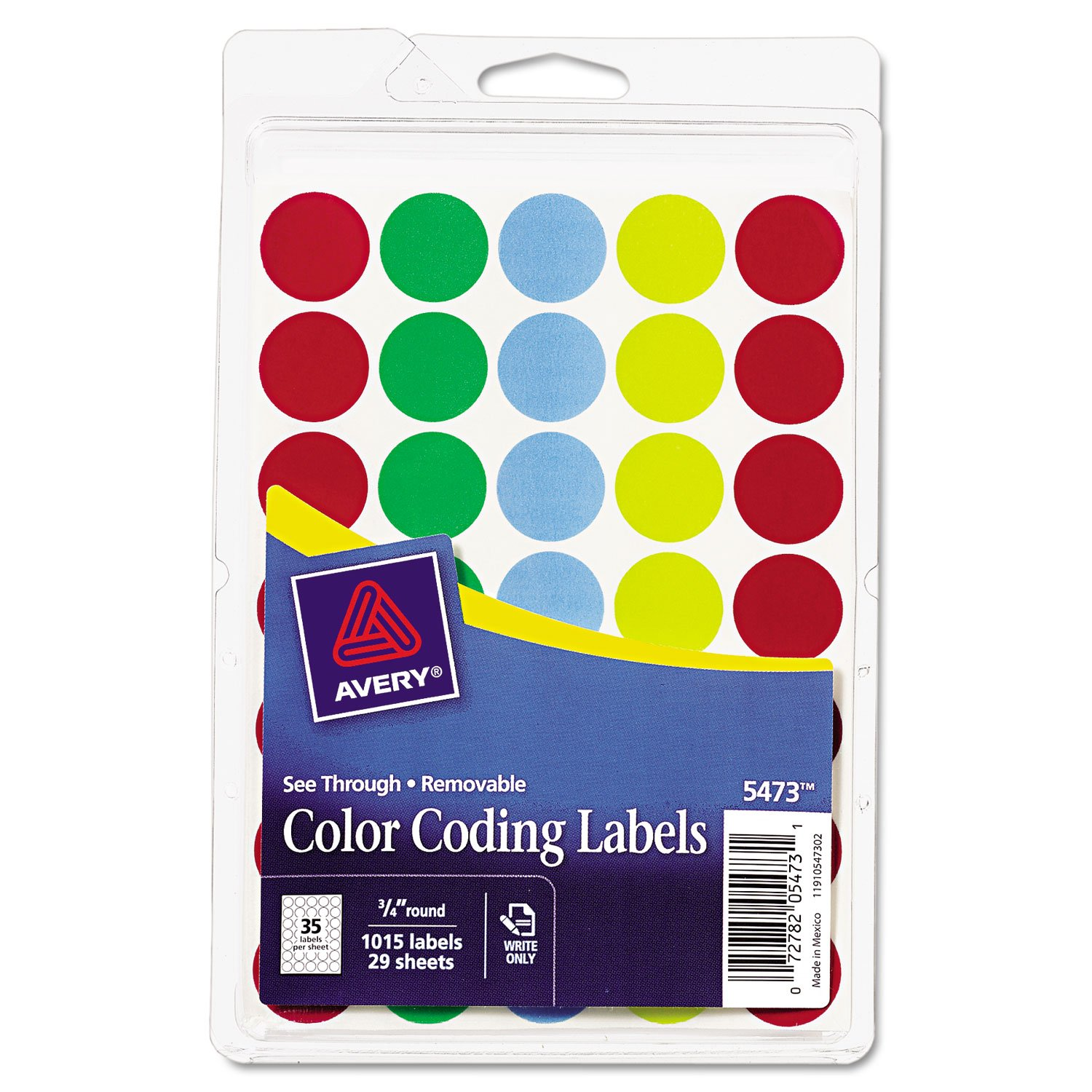 Avery 05473 Removable See-Thru Dots, 3/4'' Round, Assorted Colors, 1015/Pack