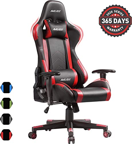 Muzii PC Gaming Chair for Pro,4-Color Choice PU Leather Racing Style Ergonomic Adjustable Computer Chair for Office or Game with Headrest and Lumbar Pillow for Adults and Teens RED