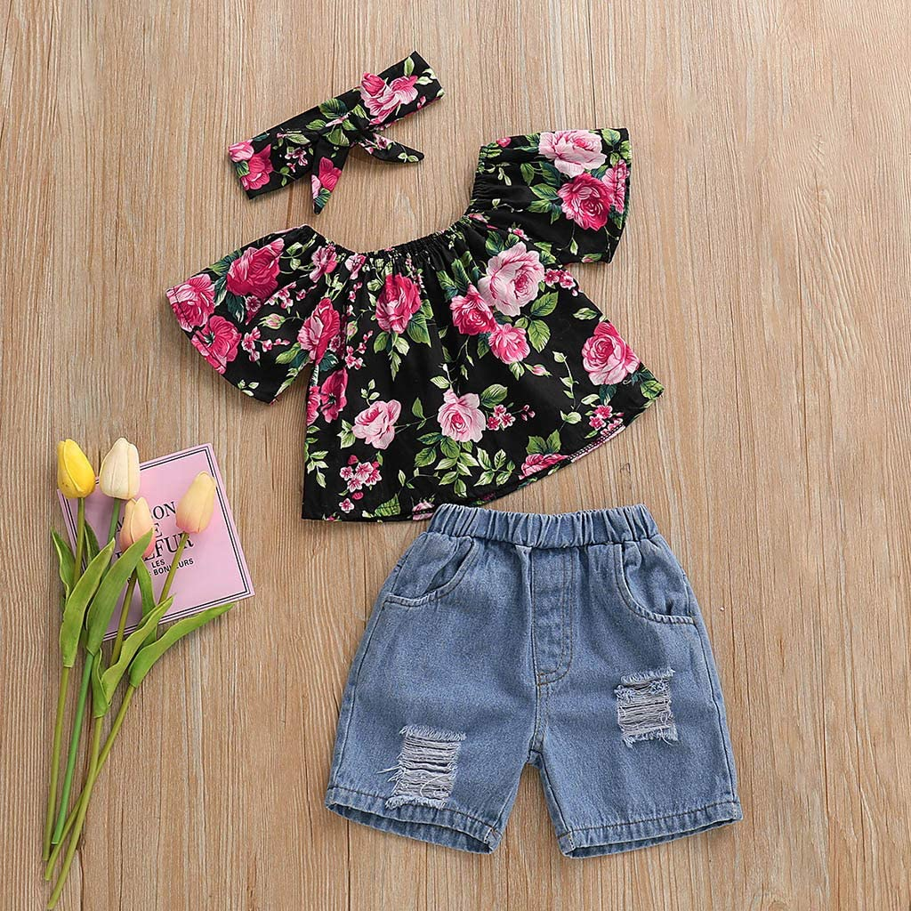 Midress Toddler Baby Girl Cotton Off Shoulder Floral Print Tops+Hole Denim Jean Shorts Outfits