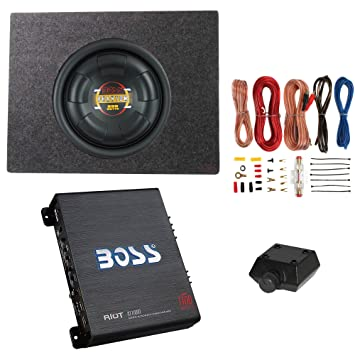 "BOSS 10 ""800 W SUBWOOFER + Q alimentación camión caja + Boss 1100 W"