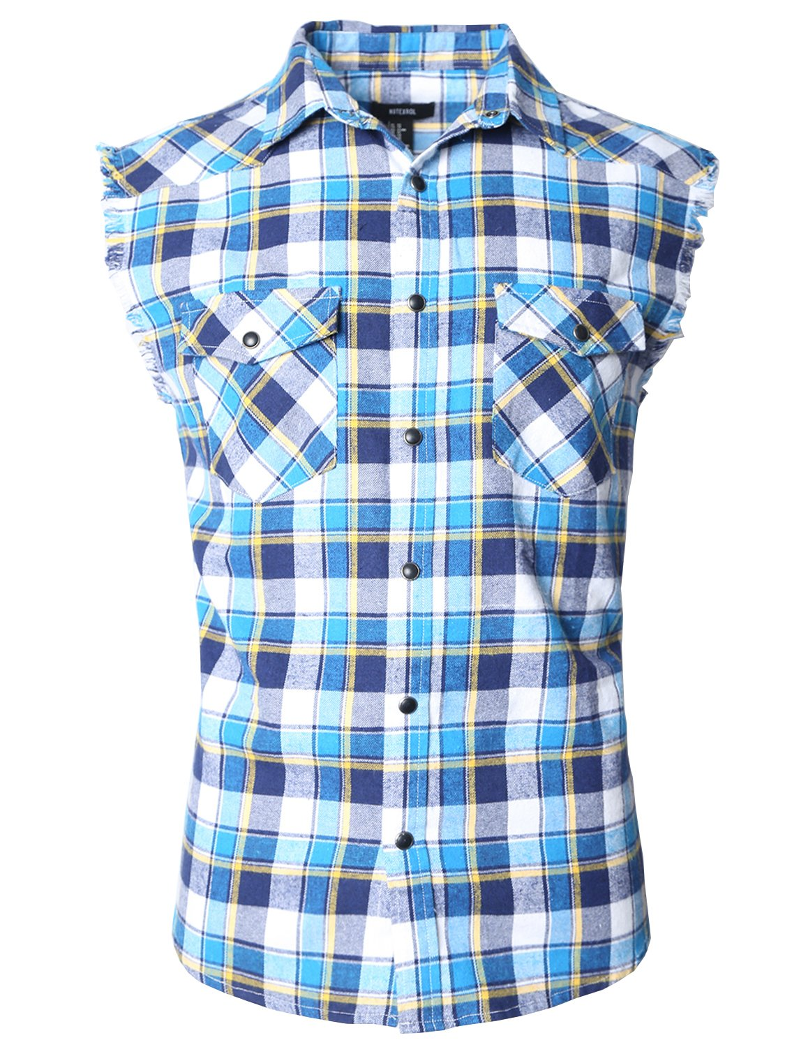 NUTEXROL Men's Casual Flannel Plaid Shirt Sleeveless Cotton Plus Size CA-WXGZ