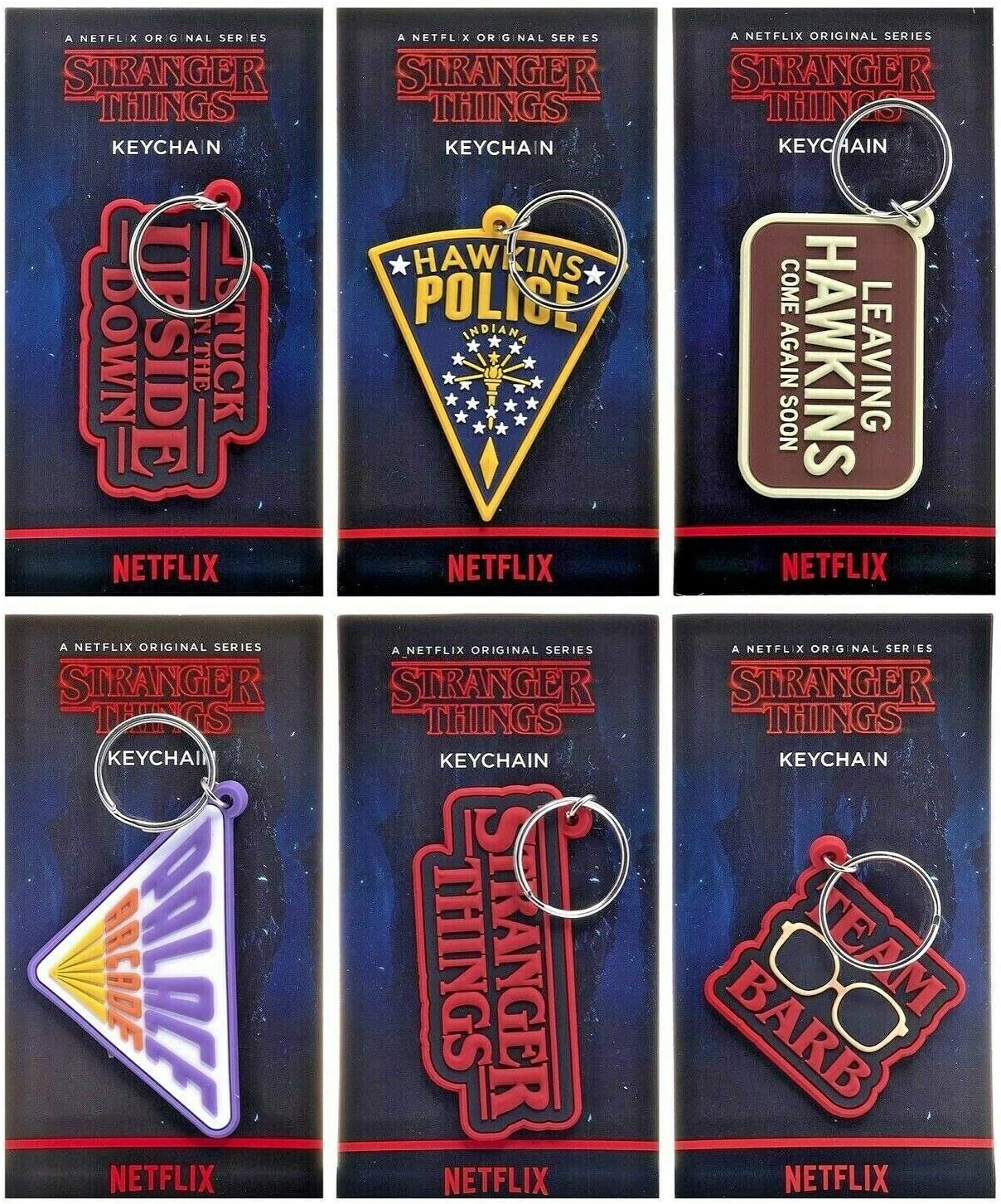 Stranger Things Key Rings Complete Set of 6 x Rubber Quality Keychains Party Bag Fillers Pass The Parcel Prizes or Stocking Fillers Ideal for Collectors